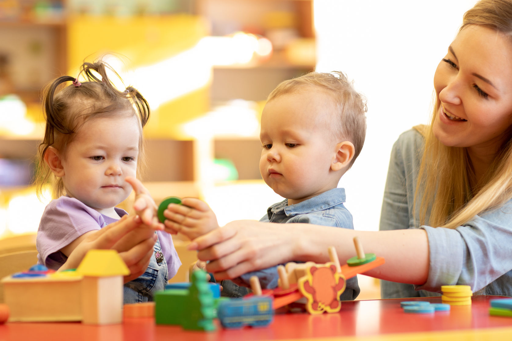 Children learning shapes at daycare